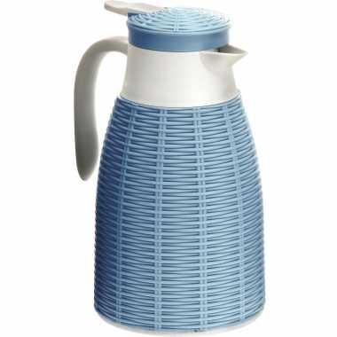 1x blauwe rotan koffiekannen/koffiekannen 1 liter