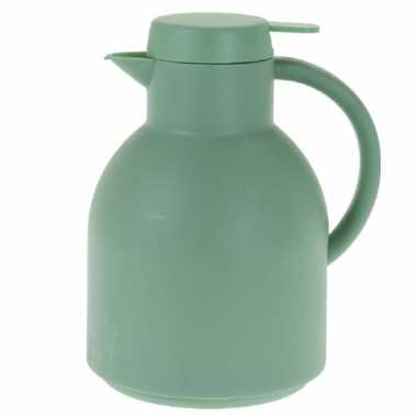 1x grijsgroene koffiekannen/koffiekannen 1 liter