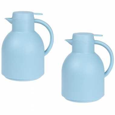 2x blauwe koffiekannen/koffiekannen 1 liter