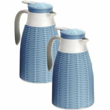 2x blauwe rotan koffiekannen/koffiekannen 1 liter