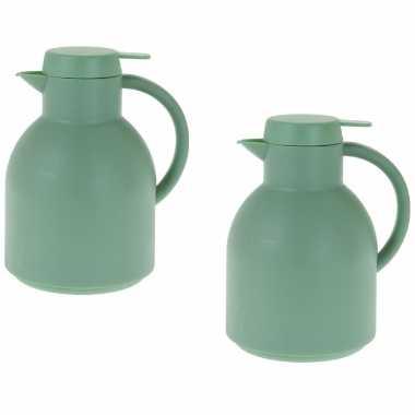 2x grijsgroene koffiekannen/koffiekannen 1 liter