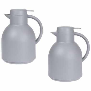 2x grijze koffiekannen/koffiekannen 1 liter