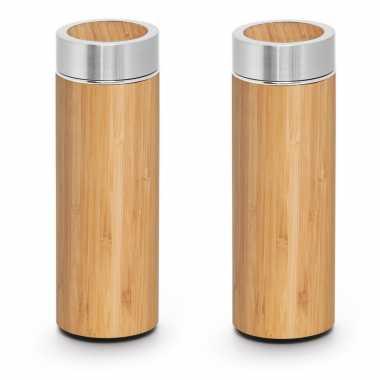 2x houtkleurige koffiekansen/koffiekansen met theezeef 430 ml