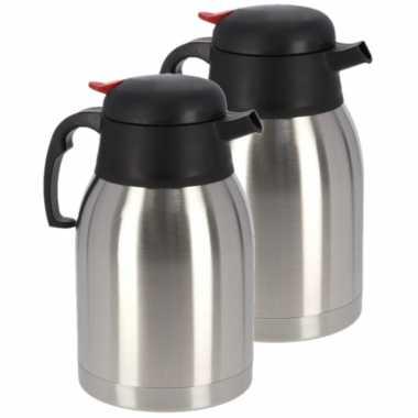 2x koffie/thee koffiekan rvs 1,2 liter