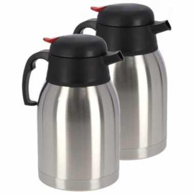 2x koffie/thee koffiekan rvs 750 ml