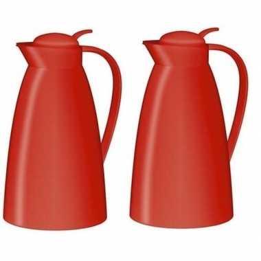 2x koffiekan/koffiekan rood 1 liter