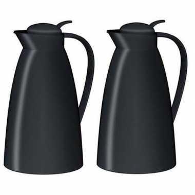 2x koffiekan/koffiekan zwart 1 liter