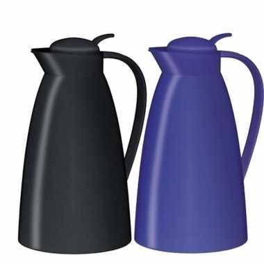 2x koffiekan/koffiekan zwart en kobalt blauw 1 liter