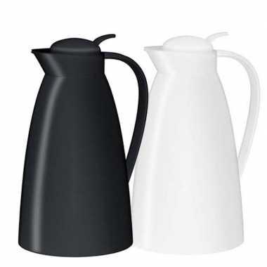 2x koffiekan/koffiekan zwart en wit 1 liter