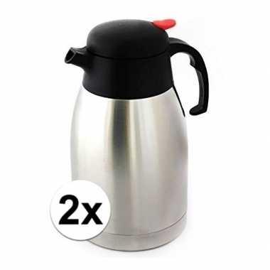 2x koffiekannen/koffiekannen dubbelwandig 1,5 liter