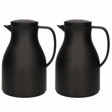 2x koffiekannen/koffiekannen zwart met drukknop 1 liter