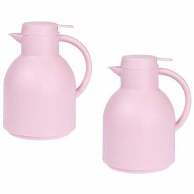 2x roze koffiekannen/koffiekannen 1 liter