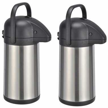 2x rvs koffiekannen/koffiekannen 2,2 liter