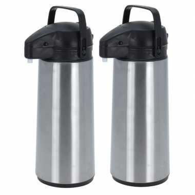 2x rvs koffiekannen/koffiekannen met pomp 1.8 liter