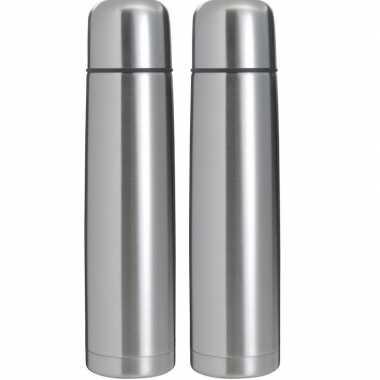 2x rvs koffiekansen/koffiekannen 1 liter zilver