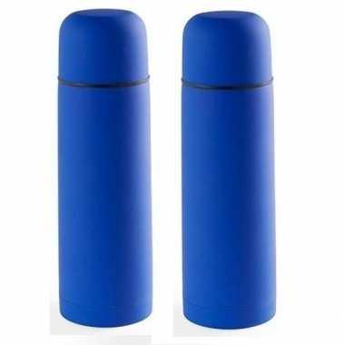2x rvs koffiekansen/koffiekannen 500 ml blauw
