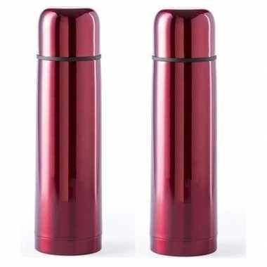 2x rvs koffiekansen/koffiekannen 500 ml rood