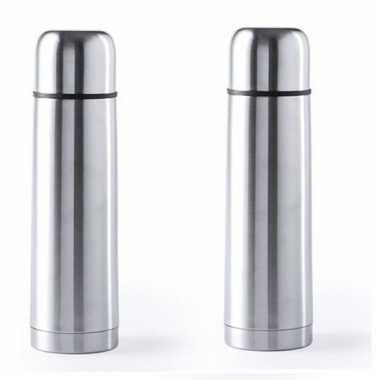 2x rvs koffiekansen/koffiekannen 500 ml zilver