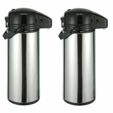2x rvs koffiekansen / koffiekannen met pomp 1,9 liter