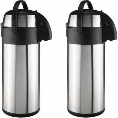 2x stuks grote rvs koffiekansen / koffiekannen met pomp 5 liter