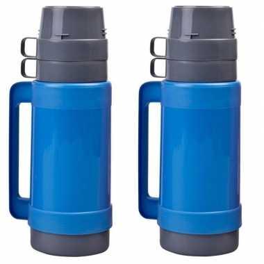 2x stuks koffiekannen/koffiekannen 1 liter blauw