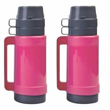 2x stuks koffiekannen/koffiekannen 1 liter roze