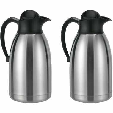 2x stuks koffiekannen / koffiekannen rvs 2 liter