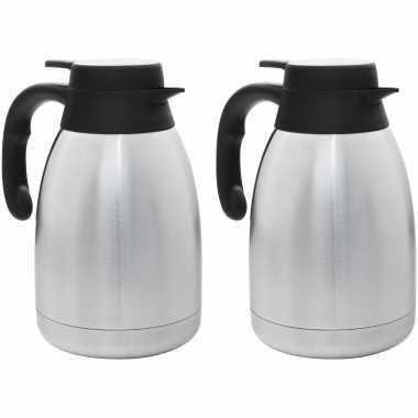 2x stuks rvs koffie/koffiekannen 1,5 liter