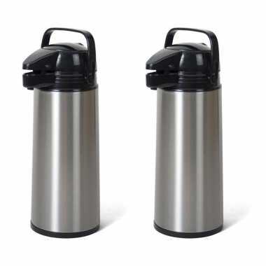 2x stuks rvs koffiekannen/koffiekannen met pomp 1.9 liter
