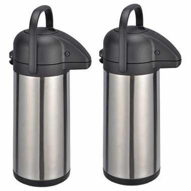 2x stuks rvs koffiekansen / koffiekannen van 3 liter