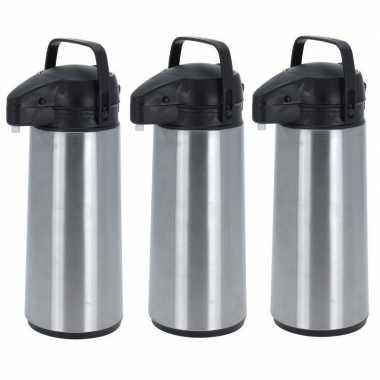 3x rvs koffiekannen/koffiekannen met pomp 1.8 liter