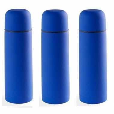 3x rvs koffiekansen/koffiekannen 500 ml blauw