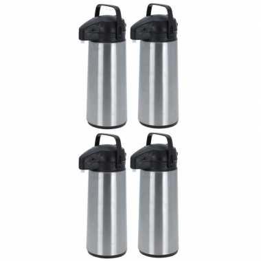 4x rvs koffiekannen/koffiekannen met pomp 1.8 liter
