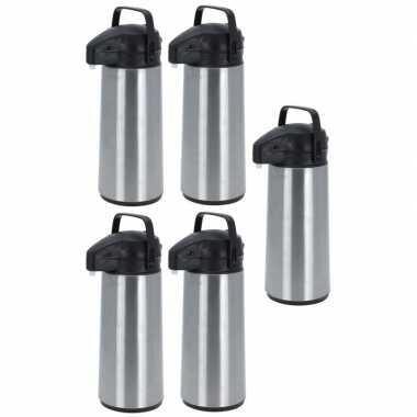5x rvs koffiekannen/koffiekannen met pomp 1.8 liter