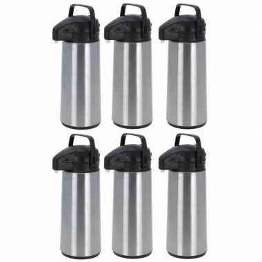 6x rvs koffiekannen/koffiekannen met pomp 1.8 liter