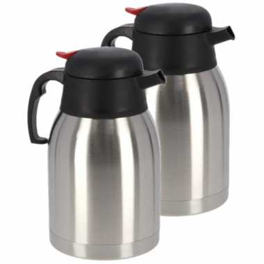 8x koffie/thee koffiekan rvs 1,2 liter
