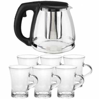 Glazen theepot met filter/infuser van 1,2 liter met 6x stuks theeglazen van 170 ml
