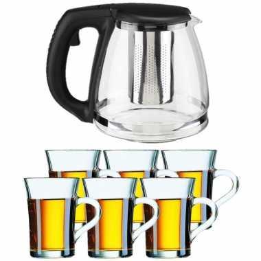 Glazen theepot met filter/infuser van 1,2 liter met 6x stuks theeglazen van 230 ml