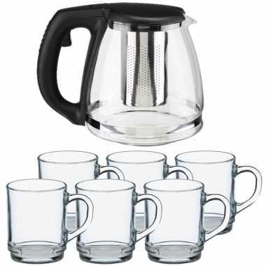 Glazen theepot met filter/infuser van 1,2 liter met 6x stuks theeglazen van 260 ml