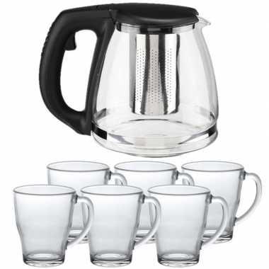 Glazen theepot met filter/infuser van 1,2 liter met 6x stuks theeglazen van 350 ml