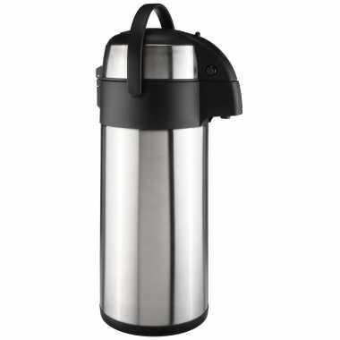 Grote rvs koffiekan / koffiekan met pomp 5 liter