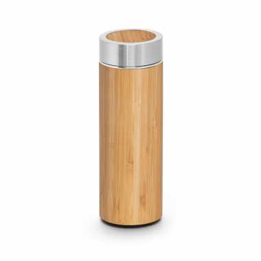 Houtkleurige koffiekan/koffiekan met theezeef 430 ml