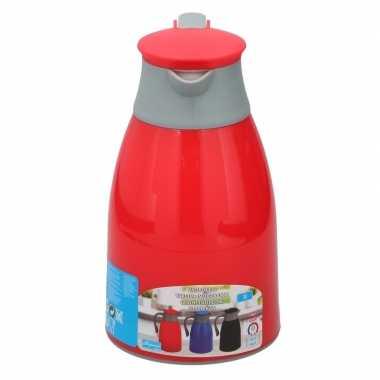 Koffiekan/koffiekan 1 liter rood/grijs