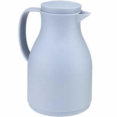 Koffiekan/koffiekan blauw met drukknop 1 liter
