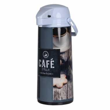 Koffiekan/koffiekan met pomp bruin/grijs 1,9 liter