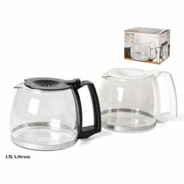 Koffiepot met zwarte deksel en handvat 1,5 liter