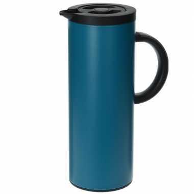 Rvs koffiekan/koffiekan 1 liter blauw
