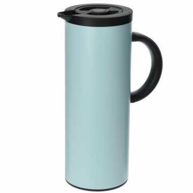 Rvs koffiekan/koffiekan 1 liter lichtblauw