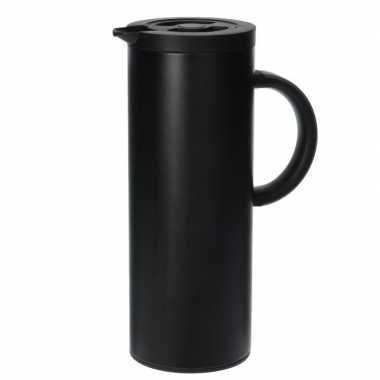 Rvs koffiekan/koffiekan 1 liter zwart