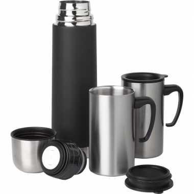 Rvs koffiekan/koffiekan 500 ml set met 2 koffiebekers